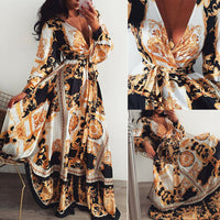 Women Boho Wrap Summer Lond Dress Holiday Maxi Loose Sundress Floral Print V-neck Long Sleeve Elegante Dresses Cocktail Party