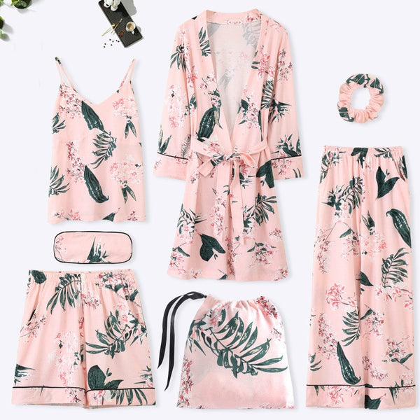 Women Cotton 7 Pieces Pajamas Sets With Pants Spring Summer Female Flower Print Pyjama Sleepwear Soft Pijama Homewear