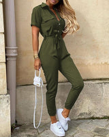 Women Fashion Casual Spring Wear Jumpsuits Overalls Solid Short Sleeve Buttoned Lace-up  Jumpsuit