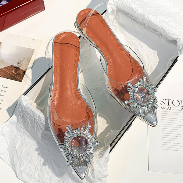 Women Sandals Summer Clear Shoes Designer Transparent Crystal Flat Shoes Pump Pointed Toe Golden Triangle with Wedding Shoes