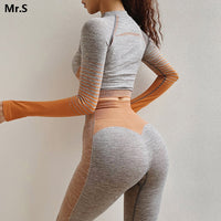 Women Seamless Long Sleeve Crop Top Shirts Orange Yoga Gym Shirts Workout Tops Fitness Running Fitted Shirt Sportswear