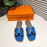 Women Slippers Slide Sandal Mule Luxury Desginer Shoes Brand Desgin Woman Genuine Leather Ostrich Patten Flat Mules Shoes