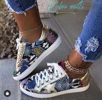 Women Snake Printing Lace up Sneakers Female PU Leather Vulcanized Shoes Fashion 2019 Platform Woman Shoes Walking Footwear