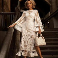 Women Summer Long Dress 2019 Vintage Sexy Party Night Dresses Elegant Embroidery White Dress Plus Size