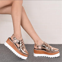 Women Summer Shoes Wedges Thick Heel Mujer Women Platform Sandals High-Heeled Shoes Woman Star Creepers Women's Oxfords Shoes