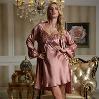 Xifenni Robe Sets Female High Quality Faux Silk Sleepwear Women Fashion Trend Two-Piece Lace Long-Sleeve Bathrobes 1521