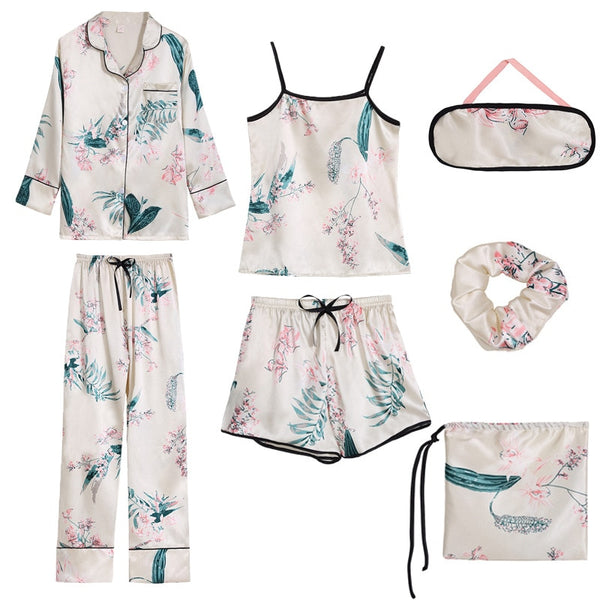 ZOOLIM 2018 Women Silk 7 Pieces Pajamas Sets Satin Thin Spaghetti Strap Homewear Flower Print Pyjama Long Sleeve Casual Pijama