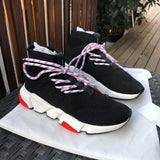 high top fly knit sneaker new women sneakers lace-up stretch socks boots ultra comfortable casual dad shoes speed trainer shoes