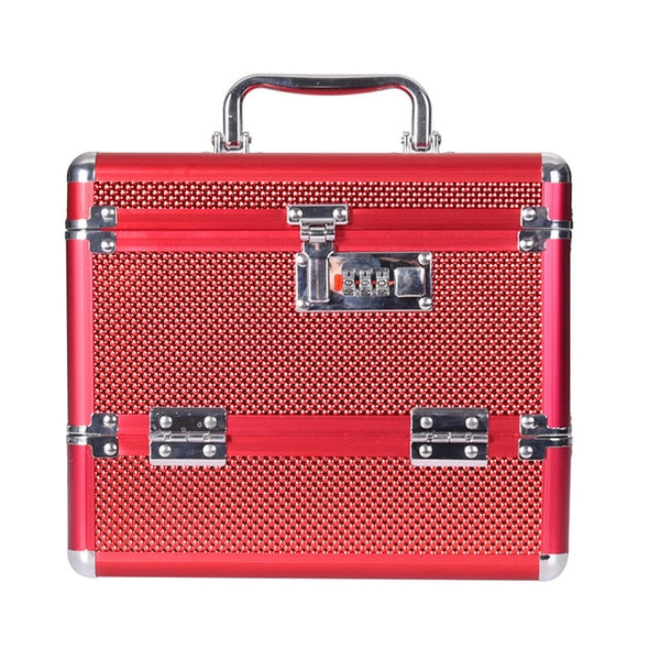 hot selling quality Professional Aluminium alloy Cosmetic case Make up Box Makeup Case Multi Tiers Lockable Jewelry Box