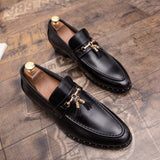 luxury brand men dress shoes fashion Men tassel loafers shoes genuine leather italian formal dress office oxfords shoes for men