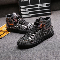 men's casual banquet prom wear breathable rivet shoes personality flat platform shoe outdoors stage ankle boots zapatos hombre