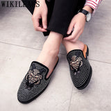 mules suede shoes men half shoes for men rhinestone luxury men shoes fashion zapatillas hombre casual sapato social masculino