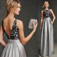 new hot sexy backless lace appliques silver satin long Evening Dress vestido de festa longo prom dresses Formal gown