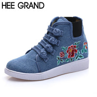 HEE GRAND Woman Canvas Shoes Chinese Ethnic Style Rubber Woman Flats Spring Floral Embroidered Shoes Woman XWD5130