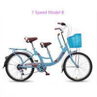 New brand 22 inch aluminum wheel carbon steel mother and children double seat 7 speed women's bike city lady bicicleta bicycle