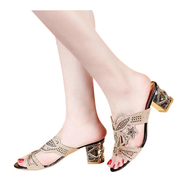HEE GRAND Woman Slippers Floral Bling Glitter PU Leather Summer Style Shoes Woman Square Heel Fashion Slides Sandals XWT594