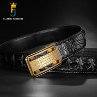 FAJARINA Luxury Men's Real Crocodile Skin Belts Exquisite Stainless Steel Smooth Buckle Business Belt for Men 3.3cm Wide CROD003
