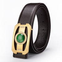 FAJARINA Quality Black Genuine Leather Accessories Cowhide Real Jade Decorative Smooth Buckle Belts for Men Best Gifts LUFJ521
