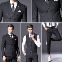 New Arrival Brand Mens Suit Formal Business Blazer Men Groom Three Pieces Slim Fit Party Jacket Clothing Wedding Dress Pants