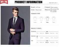 Top Fashion Formal Business Blazer Men Groom Three Pieces Brand Mens Suit Jacket Slim Fit Clothing Single Button Wedding Dress