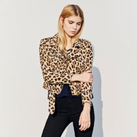 BOOTYJEANS 2017 Autumn High End Women's Clothing Leopard Print Motorcycle Jacket Zipper Coat Slim Short Design Jacket for Female