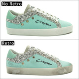 CANGMA Luxury Women Sneakers Canvas Casual Shoes Blue Breathable Genuine Leather Footwear Female Adult Shoes Ladies Sequin