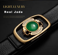 FAJARINA Unique Green Bead Real Jade Decorative Smooth Buckle Belts Top Quality Cowhide Genuine Leather Belts for Men LUFJ518