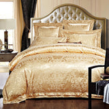 4/6 Pcs Luxury White Golden Red King Queen size Wedding Bedding Sets Satin Cotton Jacquard Bed sheet Duvet cover set Pillowcases