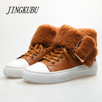 JINGKUBU Winter Mid-Culf Warm Wool Fur Boots Genuine Full Grain Leather Long Plush Snow Boots Women High Quality Flat Shoes 882