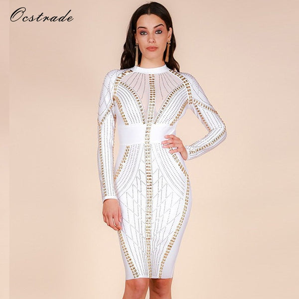 ea152157a8 Ocstrade Merry Christmas Party New Year Eve Womens Studded High Quality  Rayon Long Sleeve White Bandage Dress Dress