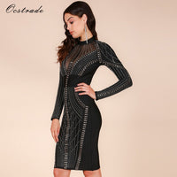 Ocstrade Merry Christmas Party New Year Eve Womens Studded High Quality Rayon Long Sleeve White Bandage Dress Dress