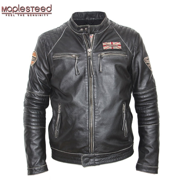 MAPLESTEED Vintage Distressed Leather Jacket Men Cowhide Calf Skin Jacket Man Retro Motocycle Jacket Mens Leather Clothing M101
