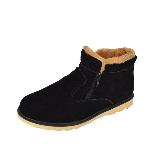 New Winter Men Warm Snow Boots PU Leather Thick Plush Men ankle Boots Male Casual Zip Shoes High Quality Plus Size