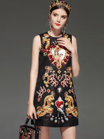 LD LINDA DELLA New Designer Runway Retro Summer Dress Women's Sleeveless Luxury Crystal Beading Sequin Vintage Dress