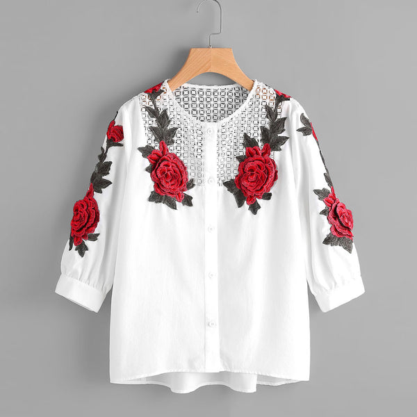 Women Autumn Long Sleeve T-Shirt Embroidered Shirt Casual Blouse Tops