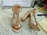 Crystal T-Straps Women Open Toe Sandals Rose Gold Leather Ladies Chunky Heel Sandals Ankle Buckle Fashion Dress Shoes