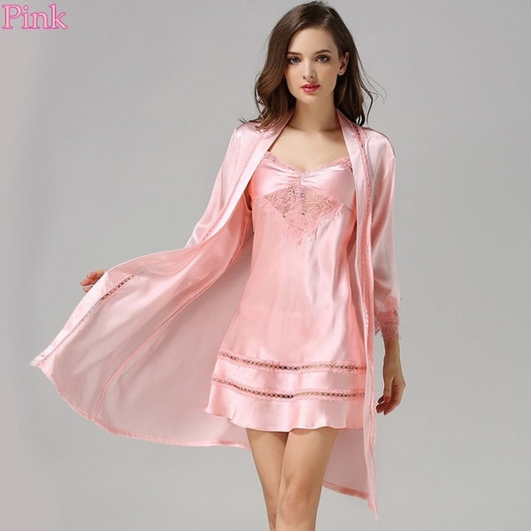 5c7b1f06691e New 100% Silk Satin Solid Women Robe   Gown Sets Women s Bathrobe Sexy Robes  with