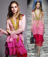 womens Brand Design Runway Women sequin embroidery on the neckline waist and shoulders Ruffle layers Chiffon Dress