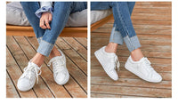 BeauToday White Shoes Women Sneakers Round Toe Lace-Up Cow Leather Lady Flats Genuine Leather Derby Shoes Handmade 29008