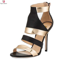 Original Intention Stylish Women Sandals 2017 Open Toe Thin Heels Sandals Fashion Black and Gold Shoes Woman US Size 3.5-10.5