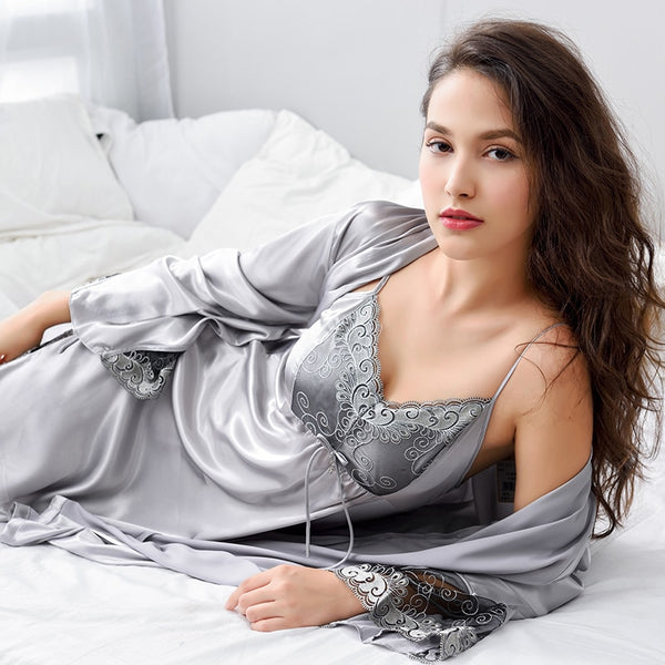 3ef3eb6f26 Xifenni Robe Sets Female Lace Embroidery Faux Silk Sleepwear Women  Two-Piece Sexy Satin SILK ...