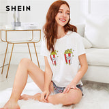 SHEIN Popcorn Print Top And Shorts Pajama Set Women Round Neck Short Sleeve Preppy Nightwear 2018 Casual Summer Sleepwear