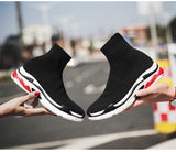 Quality New Light High Top Breathable Sock Boots Sport Women Stretch Men Sneakers Flat Running Shoes Sneaker Entertainment Black