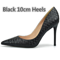 Stylesowner 2018 Top Quality Snake Skin High Heels 10/8/6cm Woman Pumps Wedding Shoes Lady Sexy Pointed Toe Casual Shoes Large