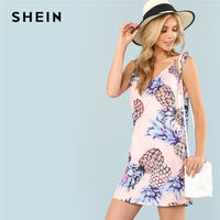 SHEIN Pineapple Print Multicolor Spaghetti Strap Vacation Women Summer Dress Boho Bohemian Cami Shift Casual 2018 Beach Dress