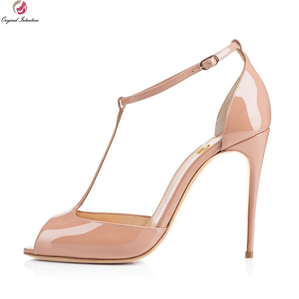 e772584f913bc Original Intention Women Sandals Open Toe Stiletto Thin Heels Sandals Black  White Red Nude Blue Shoes