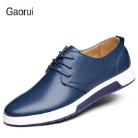 Gaorui New Brand Men Loafers PU Leather Casual Shoes Men Flats Oxford Shoes For Men Driving Shoes Lace Up Plus Size