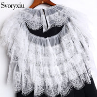 Svoryxiu 2018 Runway Summer little Black Dresses Women's Tiered White Lace Sleeve luxurious Crystal letter Embroidery Slim Dress