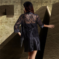 Xifenni Robe Sets Female Satin Silk Sleepwear Women Sexy Black Lace Embroidery Two-Piece V-Neck Faux SILK Bathrobes Set NEW 6629