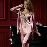 Xifenni Pajama Sets Female Sexy Satin Silk Sleepwear Women Lace Embroidery Pyjamas Three-Piece Faux SILK Home Clothing 8306